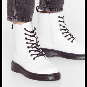 NEW white faux leather boots